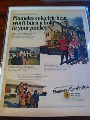 Vintage 1969 Flameless Electric Heat Happy Home Owners Print Art ad