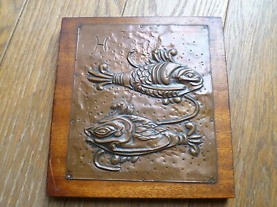 """Arts & Crafts, Newlyn Style Copper Fish Plaque, Monogrammed """"h"""""""