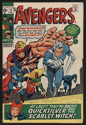 Avengers #75 Scarlet Witch/quicksilver Return! John Buscema Art Nice White Pages