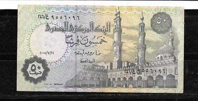Egypt #62I 2005 Vg Circulated 50 Piastres Banknote Paper Money Currency  Note