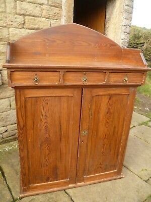 Edwardian Pitch Pine Tall Cupboard with 3 x Drawers