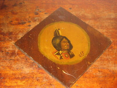 Charming Oil Painted On Wood Small Panel Of A Native Indian Signed G Ff