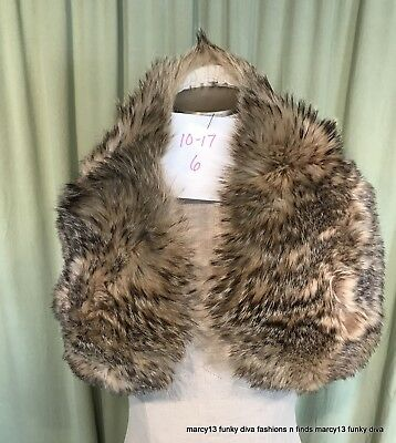 "Gorgeous Vintage 60's 70's Coyote Fur Collar Shades of Brown 34.5"" x 5-3/4"""