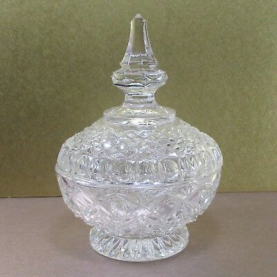 """Clear pressed glass (jam) bowl & tall cover, 5"""" vintage ᵛ Y2"""