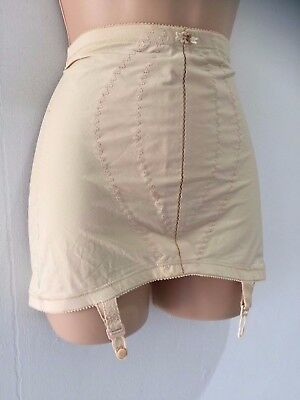 Vintage Playtex Nude Stitch & Flower Open Corset Girdle With Suspenders XL 16-18