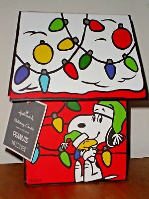 Peanuts Snoopy Hallmark Holiday Christmas Cards Set of 16 with Dog House Box