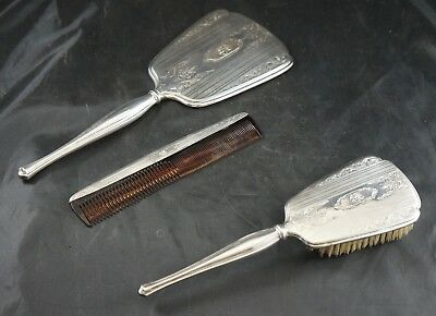 STERLING SILVER VANITY DRESSER SET Brush Mirror & Comb