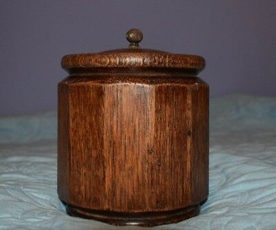 Antique Old Arts & Crafts Deco Wooden Round Sided Tea Caddy~Metal Insert