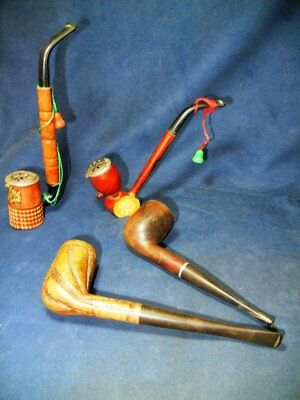 Lot Of 4 Vintage Tobacco Smoking Pipes From Estate  - 2 Lidded - Proctus Deluxe