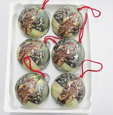 "Victorian Santa Christmas Ornaments Lot of 6 Paper Mache 3"" Diameter Balls"