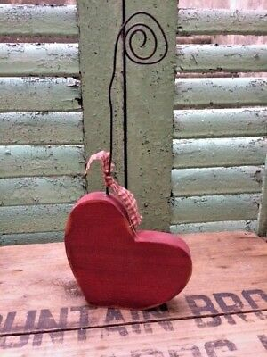 PRIMITIVE HEART PHOTO HOLDER valentines love note mantel cupboard RUSTIC GOODS