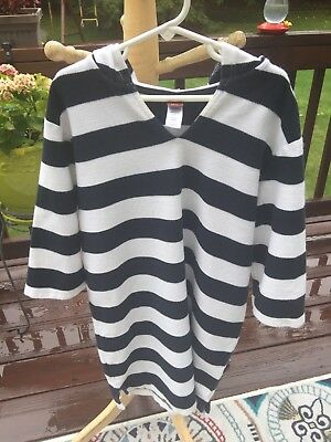 Tea Collection Navy Blue & White Striped Hooded Cover Up L Large 8 10 Nordstrom