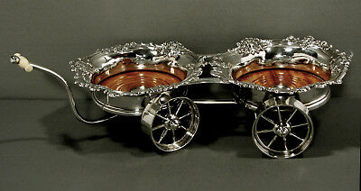 "English Sterling Wine Bottle Trolley    1845    Double Coasters   ""Family Crest"""