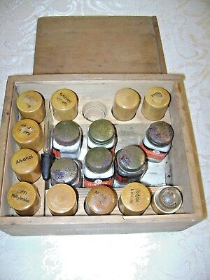 Antique German Chemistry Set w/ Wood & Glass Containers Wetzlar Paperwork