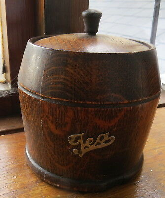 Antique Wooden Barrel Tea Caddy