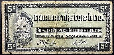 Vintage 1961 Canadian Tire 5 Cents Note - Free Combined Shipping