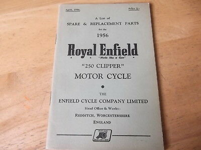ROYAL ENFIELD ILLUSTRATED SPARE PARTS LIST 1956 FOR 250 cc CLIPPER GENUINE BOOK
