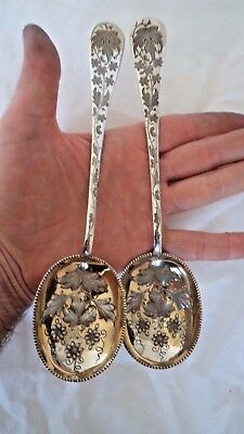 Superb Extra Large Antique 1903 Berry Solid / Sterling Silver Serving Spoons