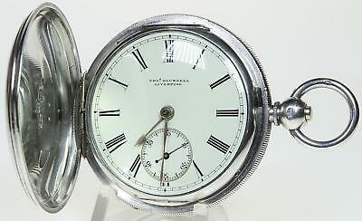 Solid silver full hunter English lever pocket watch 1883 cleaned & working