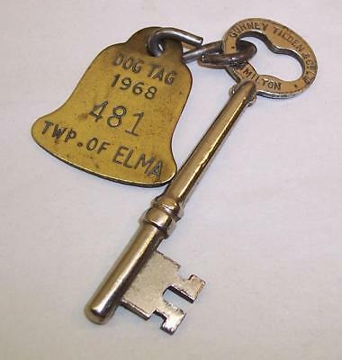 Vintage BRASS Dog Tag 1968 TWP of ELMA on GURNEY TILDEN & Co Hamilton KEY