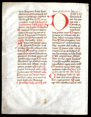 Medieval Augustinian Breviary Manuscript Leaf Vellum Italy Large Red Initial