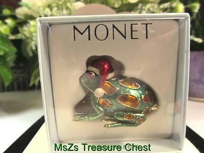 "MONET Green & Gold ""SANTA FROG"" Collectible Enamel Keepsake Trinket Box  * NIB *"