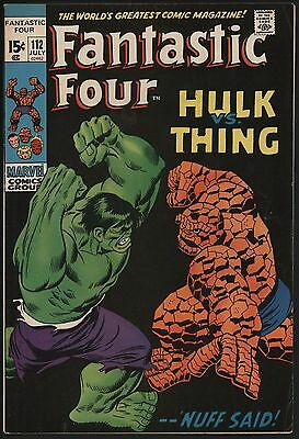 FANTASTIC FOUR #112 VFN+ CENTS ONLY ONE ON eBAY -  WHITE PAGES! THING VS HULK