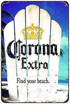 "Corona Extra Cerveza Beer Find Your Beach Vintage Retro Metal Sign 8"" x 12"""