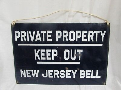Vintage Cobalt Blue Porcelain on Metal NJ Bell Private Keep Out NJ Sign