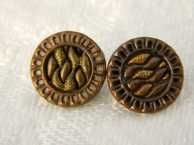 Pair of ANTIQUE Vintage BUTTONS  woven look outer edge pierced with liner