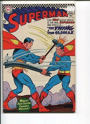 Superman 196 Fn  Thing From 40,000Ad  Swan Boring 1967