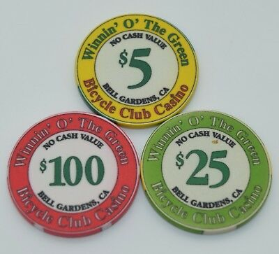 Set of 3 Bicycle Club $5-$25-$100 NCV Casino Chips Bell Gardens CA ChipCo.