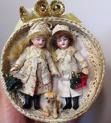 "Two tiny 3 1/2"" Bisque (swivel head) Antique French Mignonette Dolls & Puppy"