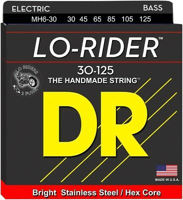 DR Strings Lo Rider MH6-30 Med Stainless 6-String Bass Guitar Strings .125 Low B