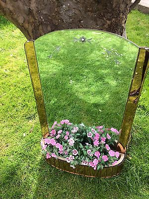 Rare And Beautiful Art Deco Mirror With Peach Edging And Flexi Tile Trough/shelf