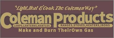 One (1) New Coleman Products Wood Panel Bumper Sticker Decal Lantern Stove