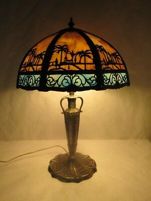 Magnificent Miller Slag Glass Lamp With Panel Overlay And Egyptian Palm Trees