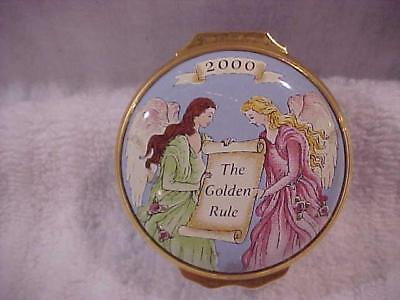 "Halcyon Days ""Golden Rule"" Enamel Box made in 2000 for Mary Kay -- MINT"
