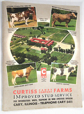 Curtiss Candy Co. Farms Dairy Cattle Stud Service Vintage Catalog 1949 Scarce!