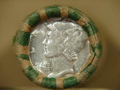 Old Unsearched Mercury Dime Roll of 50 Silver Coins BU 1936 And BU FSB Ends