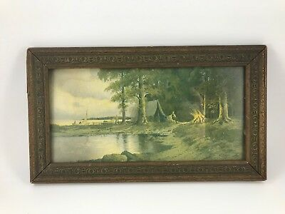 Antique 1908 Walter Schaffner Picture In Etched Wood Frame