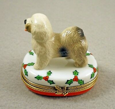 New French Limoges Box Old English Sheepdog Dog Puppy On Christmas Holly
