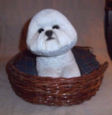 Adorable Large Sandicast Bichon Frise Statue / Figurine / Sculpture In A Dog Bed