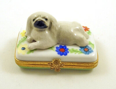 New French Limoges Trinket Box Cute Pekingese Dog Puppy On Colorful Flowers