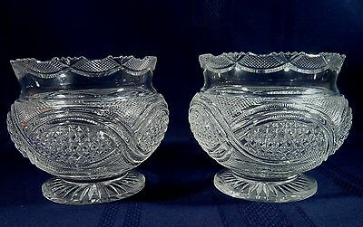 "ANTIQUE Pair ANGLO-IRISH Brilliant Cut CRYSTAL 5 "" Footed GLASS Bowls c 1880"
