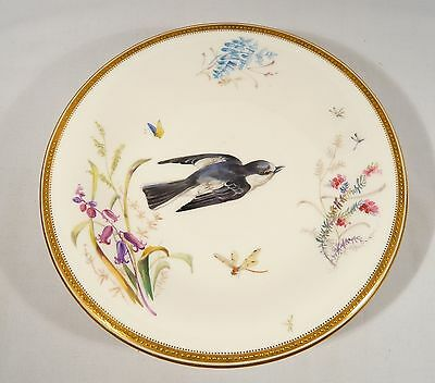 Antique WORCESTER Aesthetic COMPOTE Pedestal Dish BIRD Insects Flower circa 1865