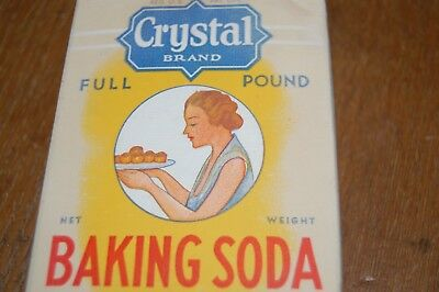 Vintage CRYSTAL BAKING SODA unopened 1 lb Box mid-century kitchen advertising