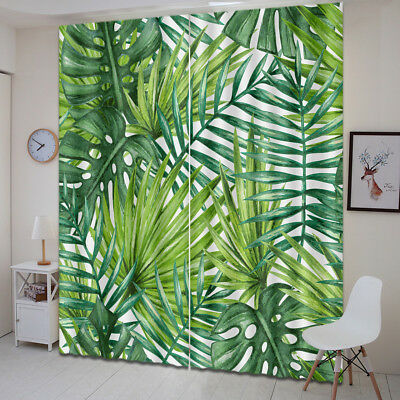 3D Green Palm Leaves Blockout Photo Print Fabric Window Curtain 2 Panels Drapes
