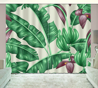 3D Green Banana Leaves Blockout Photo Print Fabric Window Curtain 2Panels Drapes