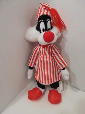 "Looney Tunes Sylvester the Cat Plush in Striped Pajamas Red White 14""  CUTE!"